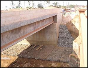 Bonsa River Bridge showing completed Gabion – Axim Junction  Tarkwa Road